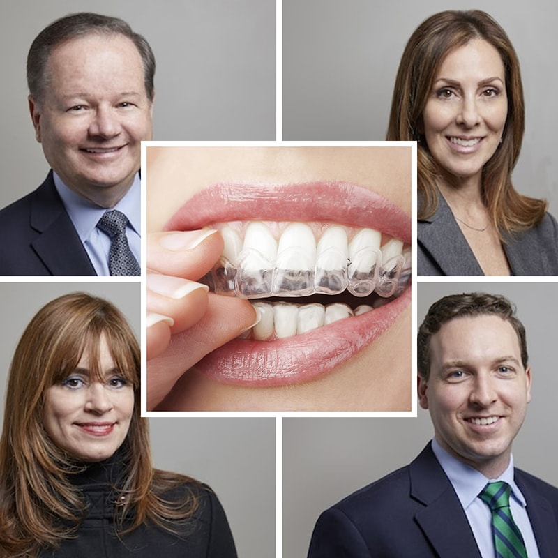 Woburn MA Dentists in a collage with clear braces in center