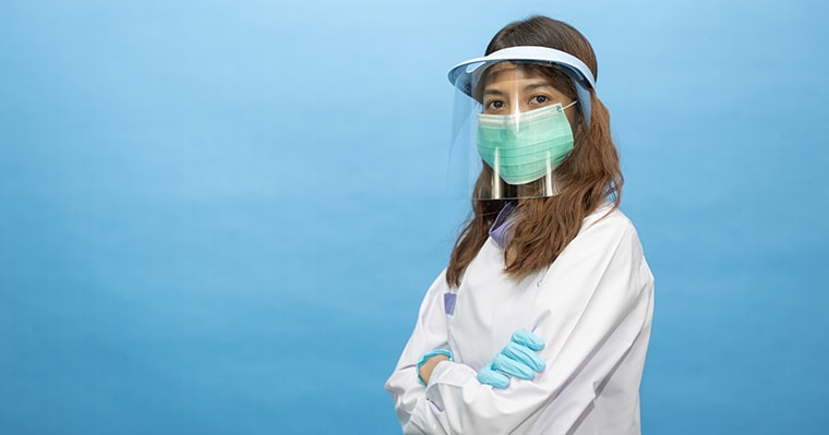 A doctor wearing personal protective equipment